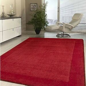 Pile Thick 20mm Nz Wool Red Floor Rug