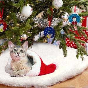 buy online 88427 4fe2c Details about White Christmas Tree Skirt 80-152cm Long Snow Plush Base  Floor Mat Cover Decor