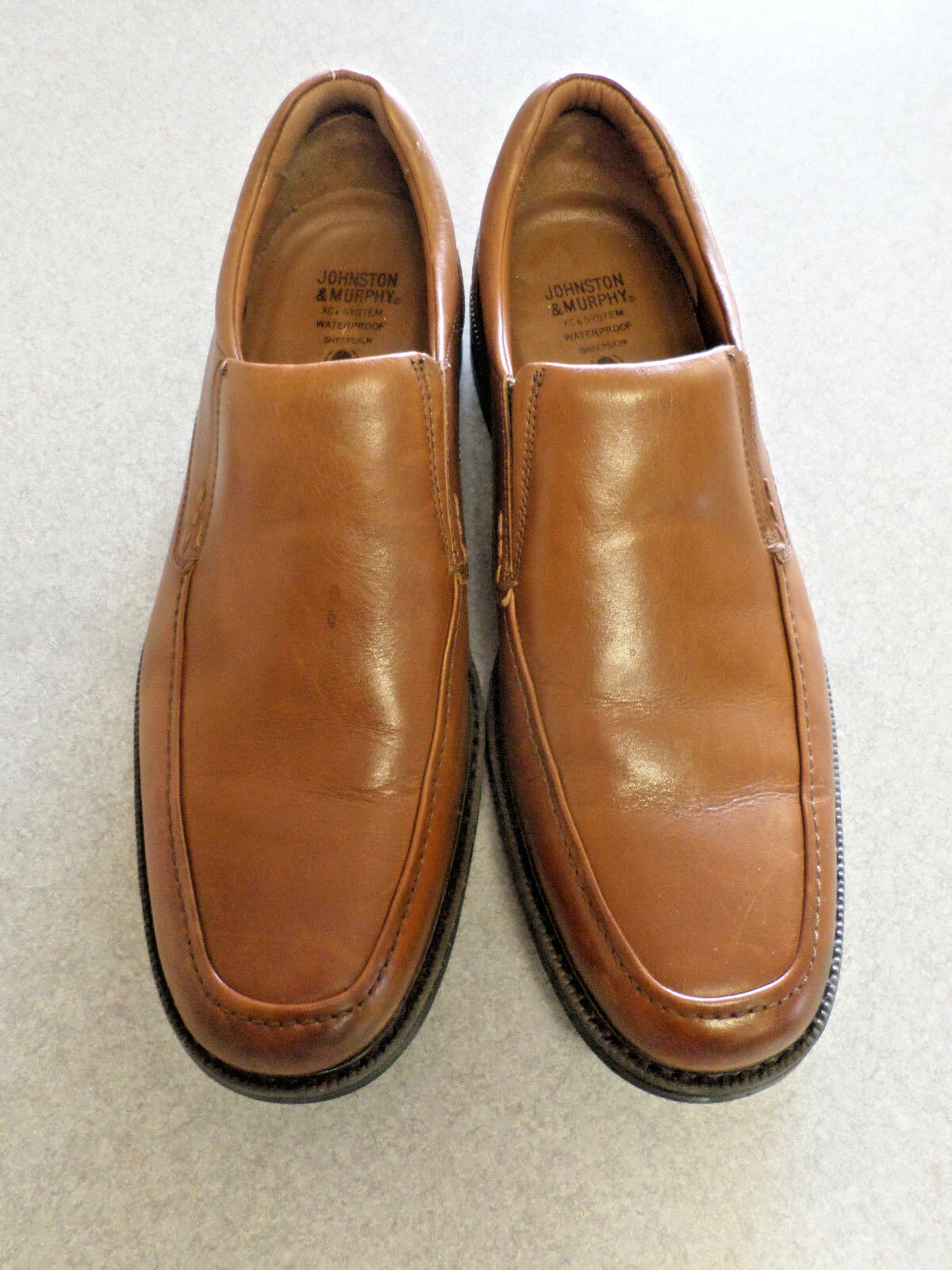 Johnston & Murphy  XC4  Brown Leather, Sheepskin Lined, Loafers. Men's 10.5 M