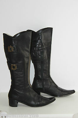 Jb martin boots pointed black leather leather lined leather size 41 tbe | eBay