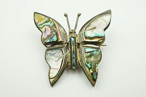 circa 1960 vintage sterling silver inlay abalone butterly brooch hallmarked hecho in mexico 925 EBS
