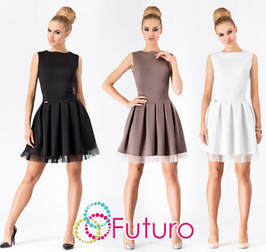 Ladies-Skater-Dress-With-Zip-Boat-Neck-Sleeveless-Bubble-Tunic-Sizes-8-12-FA378