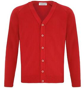 MENS PLAIN CLASSIC RED CARDIGAN JUMPER FITTED BUTTON UP VNECK SLIM ...