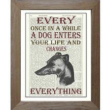 Greyhound Lurcher Dog Art Print on Original Vintage Antique Upcycled Book Page.