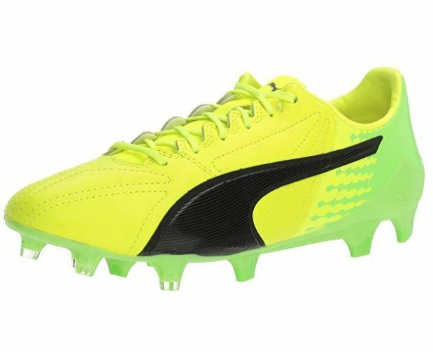 Puma Mens Evospeed 17 SL S FG Soccer shoes, Yellow Black Green, Various Sizes