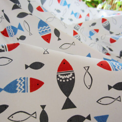 One PCS Cotton Fabric Pre-Cut Quilt cloth Fabric for Sewing Swimming Fish A6