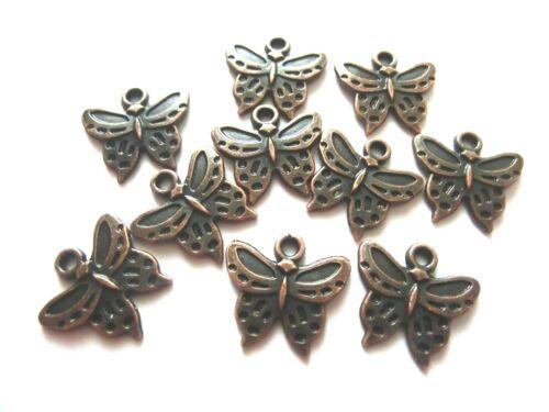 10 Charms remolque mariposa 15x6mm color cobre #s378