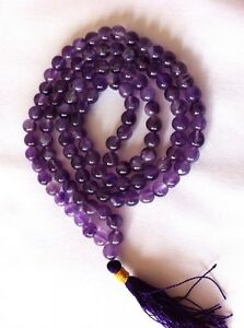 Amethyst Crystal Gemstone108 Mala Prayer Beads Buddhist