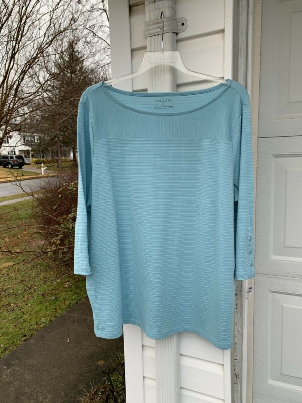 Nwt Talbots Fun Light Blue Striped 3/4 Sleeve Top Buttons On Cuff 2x 18w 20w Strengthening Waist And Sinews