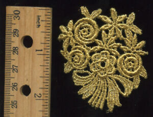 NEW 2 1//2 INCH GOLD METALLIC FEATHER DESIGN VENISE LACE STYLE #JL272