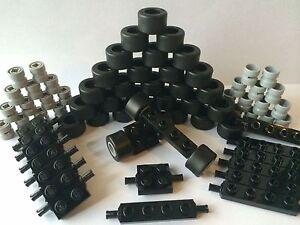 NEW-LEGO-Lot-Car-Parts-Wheels-Tires-Axles-Rims-Bricks-80-Pieces-Sport-Race-Car