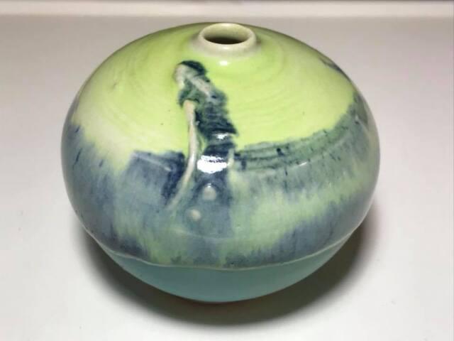 Signed AB Seafoam Green Studio Pottery Bud Vase
