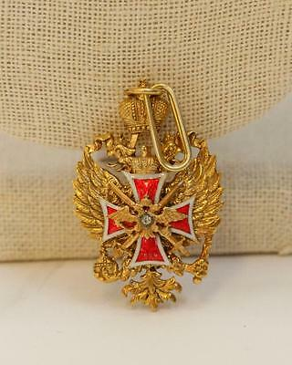 Russian Silver Enameled Medal w/ Rose Cut Diamonds Lot 129