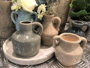 Rustico ceramica vaso di bottiglia decorativo monofiore stile