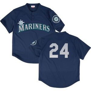 big sale 85e55 3a948 Details about MITCHELL & NESS SEATTLE MARINERS MESH AUTHENTIC BP JERSEY #24  KEN GRIFFEY JR
