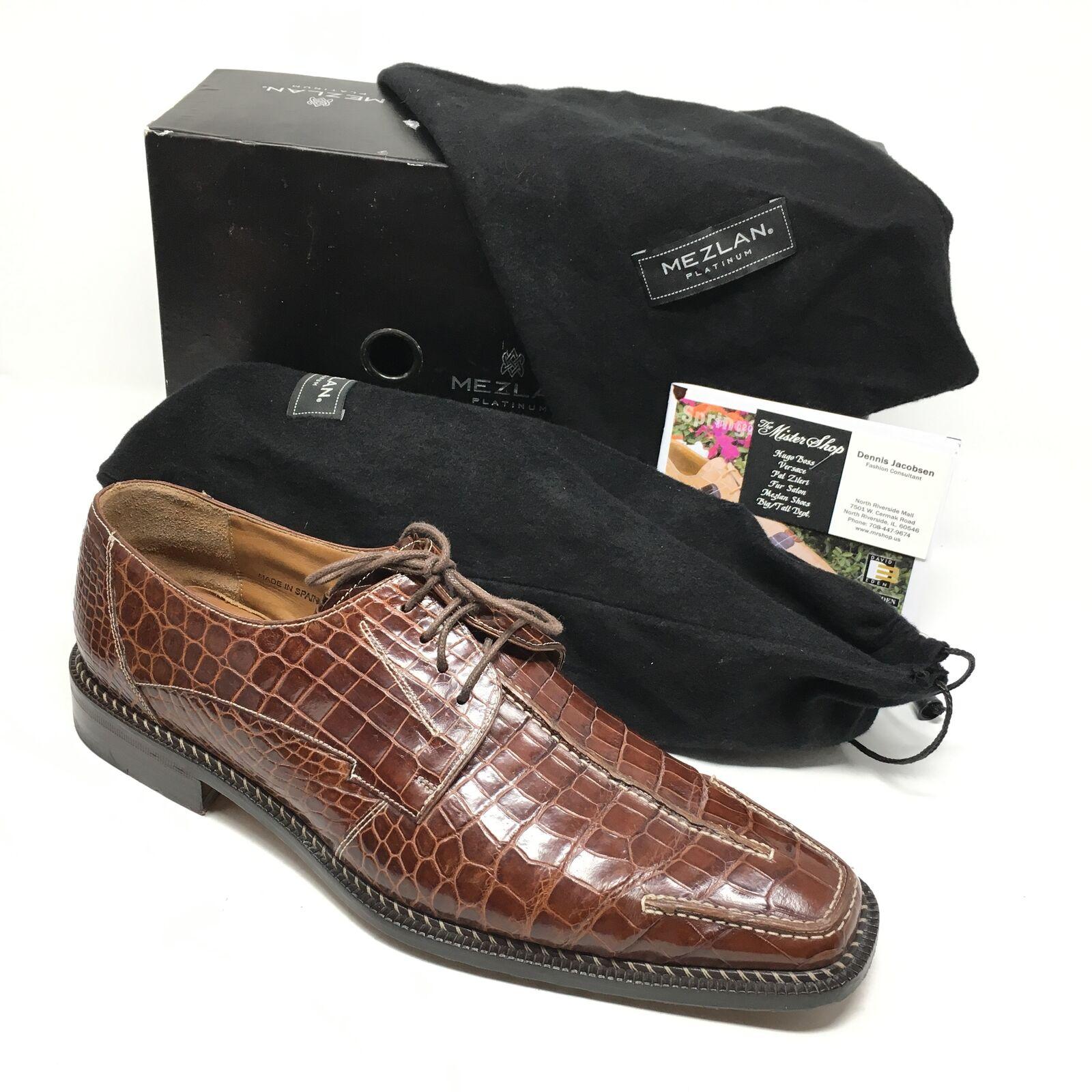 Para Hombre Zapato mezlan Platinum negroston Oxfords tamaño 10.5M Marrón Cocodrilo Completo Q15