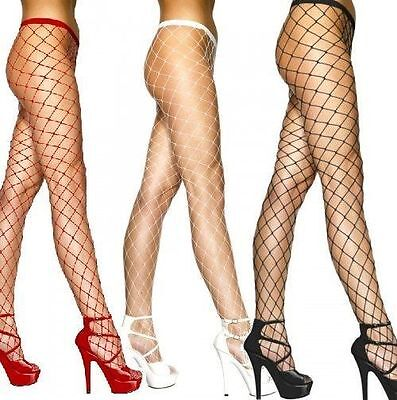 Ladies Fishnet Tights Whale Medium Regular Net Black Red White Nude Festival Pop