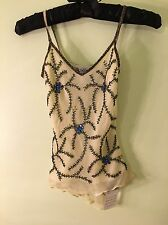 NWT ~ Glamour Costumes, tap jazz dance competition lyrical yellow tank beaded