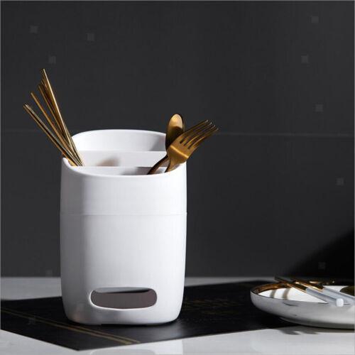 Forks Spoons Knives Kitchen Utensil Organizer White with diatom mud