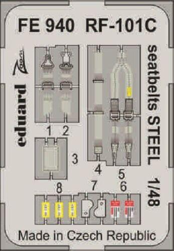 EDUARD ZOOM FE940 Seatbelts STEEL for KittyHawk Kit RF-101C in 1:48