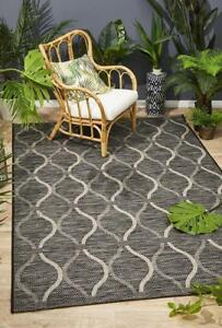 Indoor Outdoor Rug Modern Black Floor