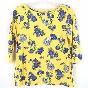 Charter-Club-Yellow-Blue-Floral-Top-Women-Size-XL