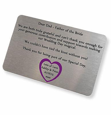 Personalised Brushed Gold Aluminium Any Text Keepsake Card Wallet Purse Insert