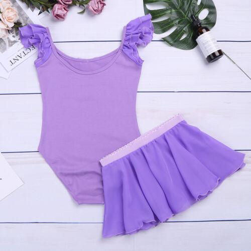 Girls Ballet Dress Leotard with Skirt//Tutu Kids Unitard Dancewear Outfits 3-14Y
