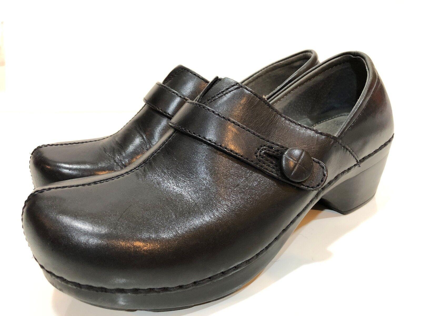 Dansko Women's Black Leather Clogs Shoes Size 38 US 7.5 - 8 M