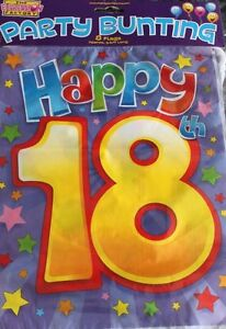 Image Is Loading 18TH 18 BIRTHDAY FLAG BUNTING PARTY DECORATION MALE