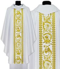 White Gothic Chasuble with stole 645-B25 Vestment Casulla Blanca Casula Bianca