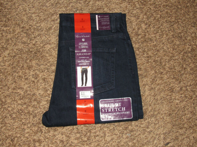"NWT GLORIA VANDERBILT /""Amanda/"" Classic Fit Straight Stretch Jean Gray Wash"