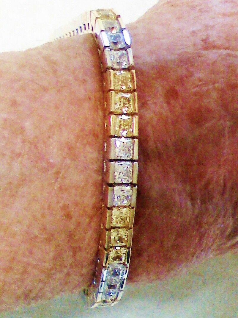 NEVER WORN Man-Made Yellow&White Diamond Tenn. Bracelet 9.36ct,cost  4000
