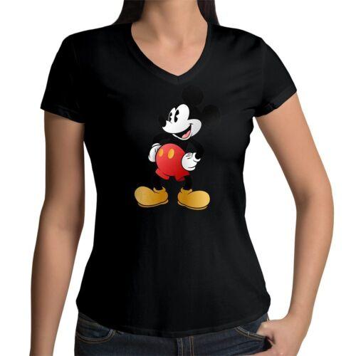 Classic Mickey Mouse Retro Disney Original Womens Junior Girl V-Neck Tee T-Shirt