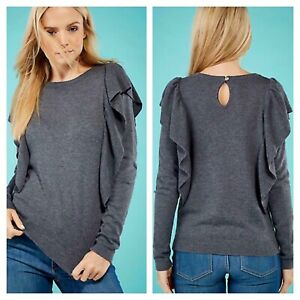 bd4ca34d2bb8 Yumi Dark Grey Size L 14 Frill Front Back Knit JUMPER Top Wool Mix ...