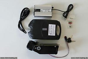 Trimota 24V 10Ah Li-Ion LiFePo4 Akku + Ladegerät Fahrradakku Sattelstütze NEU &
