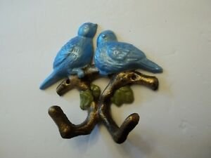 CAST IRON BLUE BIRDS WALL DECOR WITH TREE BRANCH HOOKS FOR COAT, TOWEL OR PLANTS