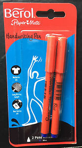 twin pack berol medium handwriting pens washable blue ink ebay