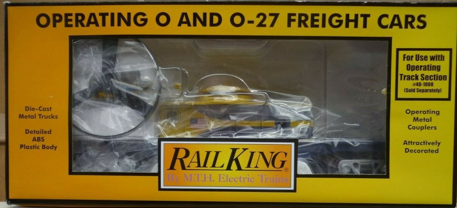 MTH RailKing 30-79390 Alaska Flat Car w Operating Helicopter