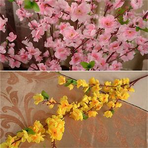 10pcs Artificial Cherry Plum Peach Blossom Branch Fake Silk Flower Tree Decor UK