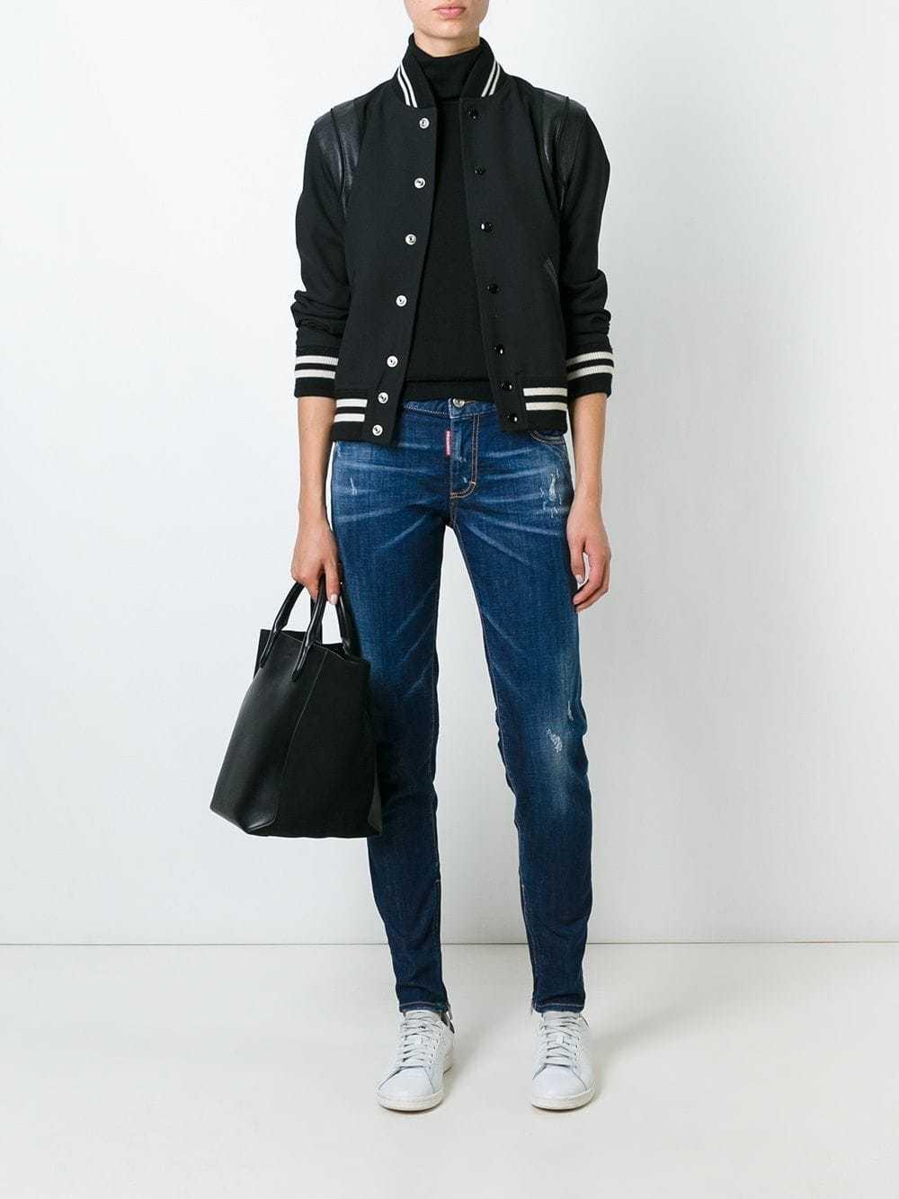 DSQUARED2 Medium Waist Dark bluee Wash Distressed Denim Cotton Skinny Jeans 44 8