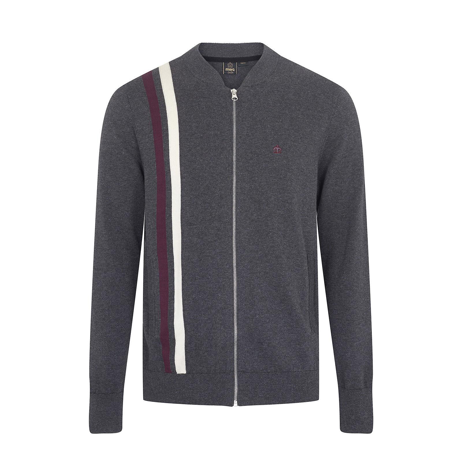 Da uomo Merc London modello retrò Zip Cardigan lavorato a maglia maglione Fenby