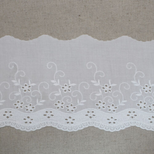 1Yard Broderie anglaise cotton lace trim Off-White 12.7cm SH38 laceking2013
