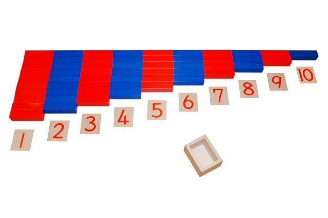 Montessori, barras de numéricos, azul rojo, Gross, 20 piezas de set, ms14