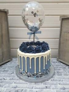 BALLOON-CAKE-TOPPER-SILVER-CONFETTI-BRIDE-PARTY-BIRTHDAY-INSERT-STRAW-BABY-NAVY