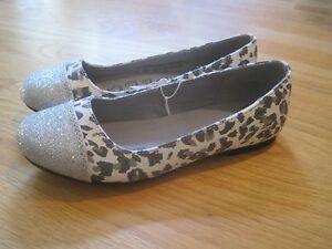 Girl Silver Glitter Gray Leopard Print Spots Dressy Flats