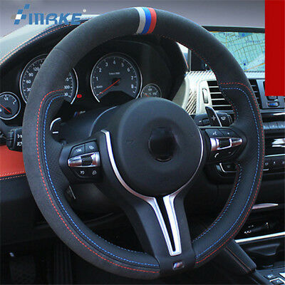 For BMW M4 DIY <b>Hand Sewing</b> Steering Wheel Cover <b>Black Leather</b> ...