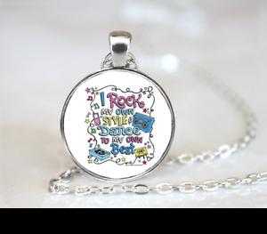 Dance PENDANT NECKLACE Chain Glass Tibet Silver Jewellery