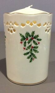LENOX HOLIDAY Vtg New Tall Vase/Votive Candle Holder w/ Piercings Holly Boughs