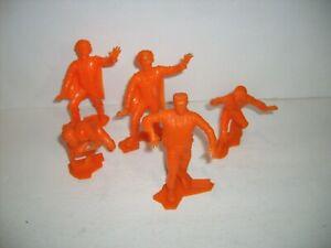 5 Vintage Marx UNIVERSAL MONSTERS Orange Figure Mummy Frankenstein Wolf man